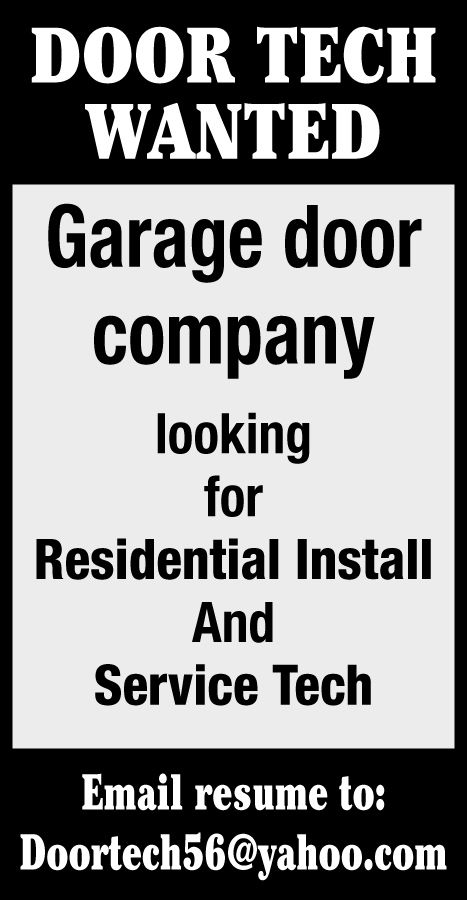 Door tech wanted! | | herald-review com